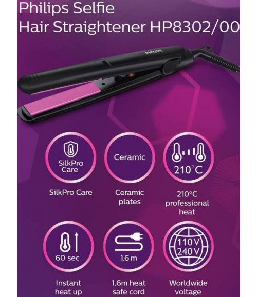 Philips HP8302/06 Compact Hair Straightener (Black)
