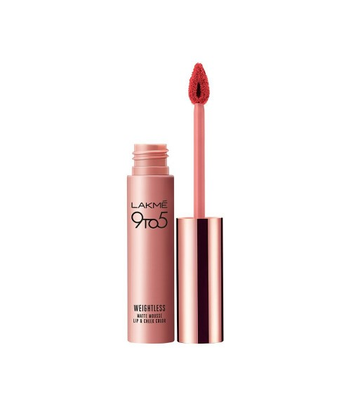 Lakme 9 to 5 Weightless Matte Mouse Lip and Cheek Color, Scarlet Plume, 9g